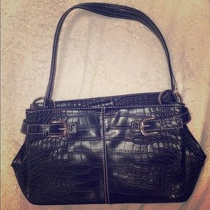 Tommy Hilfiger Black Faux Crocodile Leather Bag